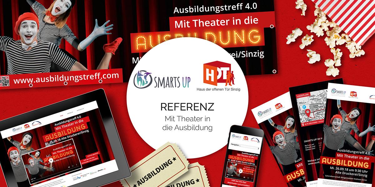 Kampagne für Event Ausbildungstreff Mit Theater in die Ausbildung CSR Projekt der Friedsam Werbeagentur